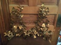 Pair of Mid Century Italian Florentine Gold Gilt Ivy Vine Candle Wall Sconce