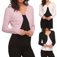 Women Long Sleeve Bolero Shrug Light Knit Cardigan Open Front Cape Short Jacket