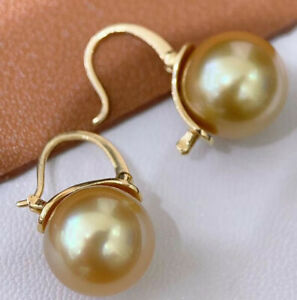 12mm Tahitian yellow South Sea Shell Pearl Earring 18k gold Accessories