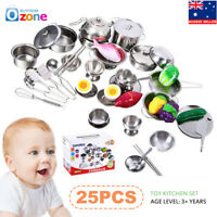 25Pcs Kids Pretend Role Play Kitchen Ware Cooking Utensil Accessory Set Toy Gift