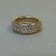 GORGEOUS ESTATE 14K GOLD & 3-BAND CZ ETERNITY RING, SIZE 7.5, 5 grams
