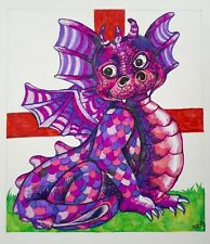 Original Ink illustration on card 'St George's Day Dragon' by Michelle Ranson