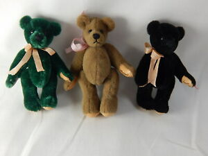 "World of Miniature Bears 2.5"" Plush Bear Green #306SET 3 pcs set CLOSING"