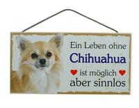 Chihuahua Hunde Holzschild Türschild Tierschild Dog Wood Sign 25 cm