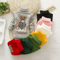 Toddler Kids Baby Girls Boy Bear Print Sweater Knit Crochet Tops Clothes Outfits