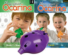 OCARINA, Purple 4-hole, Play Your Ocarina BOOKs 1 and CAROLS, with FREE DELIVERY
