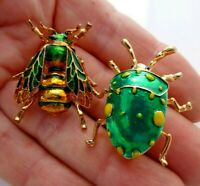Bee beetle insect brooches 2 vintage style green enamel rhinestone  in gift box