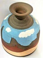 "Heavy 8"" Southwestern Style Hand Crafted Pottery Vase Artist Signed Cactus Jack"