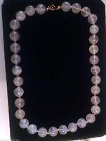 Vintage hand-knotted Rose Quartz glass Bead Necklace