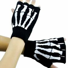 Unisex Skeleton Fingerless Knit Gloves for Texting Warm Black and White