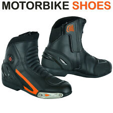 Men's High Tech Black Leather Motorbike Motorcycle Boots Racing Sports Shoes CE