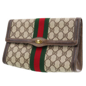 GUCCI GG Plus Web Stripe Clutch Pouch Bag Brown PVC Italy Authentic #AD596 Y