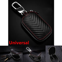 Black Leather Car Key Protector Cover Holder Key Fob Case Bag Universal For Cars