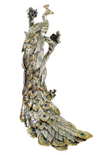 Vintage Auro Belcari Stunning Peacock 925 Sterling Silver over Sculpture Signed