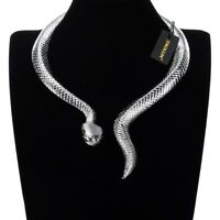Fashion Silver Snake Chain Collar Choker Chunky Statement Pendant Bib Necklace