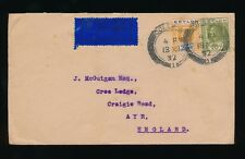 CEYLON 1932 AIRMAIL to SCOTLAND 25c + 10c
