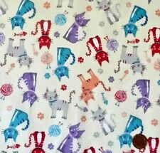 CATS IN TURQUOISE,PURPLE,PEACH, RED & GREY ON IVORY - COTTON FABRIC F.Q.'S