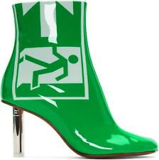 Green Patent Leather Safety Exit 10Cm Lighter Heels Boots Side Zip Shoes Ting1
