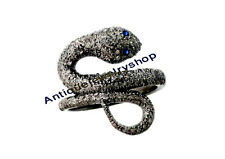 2.84ct Rose Cut Diamond Silver 925 Sapphire Victorian Snake Style Ring Free Ship