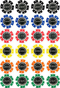 24 edible Casino Chips poker Iced Icing Fondant 4cm Cupcake Toppers Cake