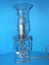VINTAGE GLASS CRYSTAL HURRICANE TABLE LAMP WITH DANGLE PRISMS  15""
