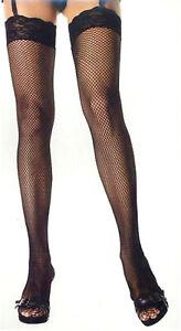 "Fishnet Thigh High Stockings 3"" Lace Top Black One Size Regular Leg Avenue 9023"