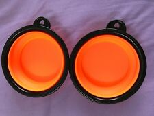 LOT OF 2 NEW PORTABLE COLLAPSIBLE SILICONE DOG PET BOWL