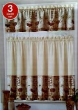 Fat Italian Chef Bistro Tiers & Valance Interiors by Design Polyester Red Tan