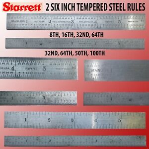 2 STARRETT 6 INCH MACHINIST RULES WITH FOUR GRADUATIONS EACH CLEAN READY TO USE