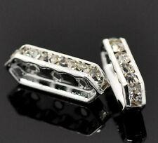 50 Perles Intercalaires Argenté 3 Trous Strass Blanc 18x6mm