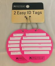 Pack Of 2 Protege Round Style Luggage Tags Suitcase ID Tags Neon Pink