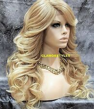 Human Hair Blend Hand Tied Lace Front Full Wig Long Wavy Medium Blonde Mix NWT