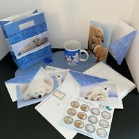 Blue Polar Bear Mug 1998 Coca-Cola 9 oz w EDF Items &Tissue Paper, Bow, Gift Bag