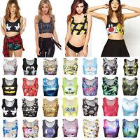 Women Sleeveless 3D Print Punk Cami Vest Blouse T-shirt Sports Crop Tank Top Hot
