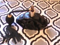VINTAGE ART DECO Perfume Bottle Black Glass Hand Blown Atomizer Tassel 4.5""