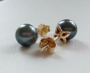Tahitian Cultured Pearl 9ct Gold Stud Earrings 7mm Certificate of Authenticity