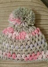 PUFF STITCH CHUNKY GIRLS BOBBLE HAT AGE 1-2 YRS PINK/GREY EXTRA WARM BRAND NEW