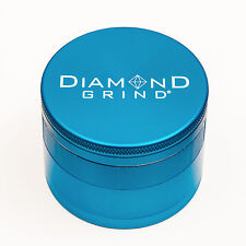 "CLASSIC DIAMOND GRIND 2.25"" Aluminum 4 piece herb Grinder w/screen 56mm TEAL"