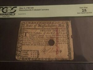 Massachusetts Colonial Currency May 5, 780 $20 Very Fine 25 Hole Punch Cancelled