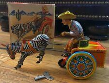Antique Lehmann Tin Wind Up Zebra Cowboy Cart Made in Western Germany Box & Key