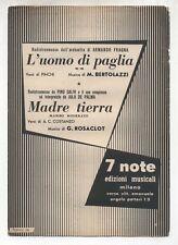 Spartito MADRE TIERRA Jula De Palma L'UOMO DI PAGLIA Armado Fragna 1956 Sheet