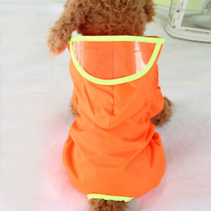 Pet Dog Raincoat Solid Color Hooded Raincoat Supplies Puppy Cat Waterproof Coat