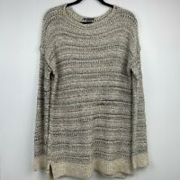 Vince Tunic Sweater Pullover Womens M Drop Shoulder Taupe Beige Chunky Open