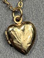 "Vintage 12 karat Yellow gold filled Heart Picture Locket Pendant Necklace 14"""