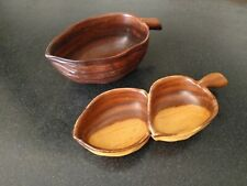 2 CARVED MONKEYPOD WOOD BOWLS LEAF SORENSEN   HAWAII TIKI BAR NUTS LUAU Vintage