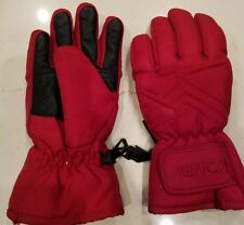KOMBI Waterguard Skiing RED Gloves JUNIOR  Black LEATHER Fleece Lined SIZE XS