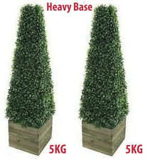 Twin Artificial Trees 3ft Pyramid Cones in wooden box stand - Indoor outdoor