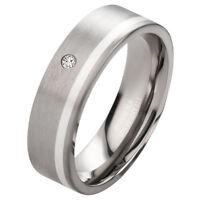 Verlobungsring mit echtem Diamant Damenring aus Titan und 925 Silber DTB8