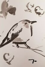 JOSE TRUJILLO SIGNED COA ABSTRACT MODERN INK WASH BLACK AND WHITE BIRD NEW 6X9