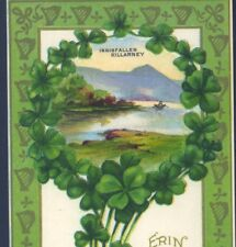 ST. PATRICK'S DAY,INNISFALLEN,KILLARNEY,WREATH OF SHAMROCKS,IRELAND,OLD POSTCARD